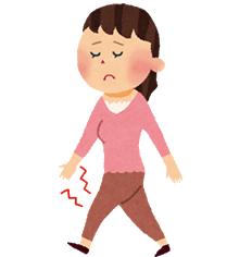 膝に痛みがある女性のイラスト